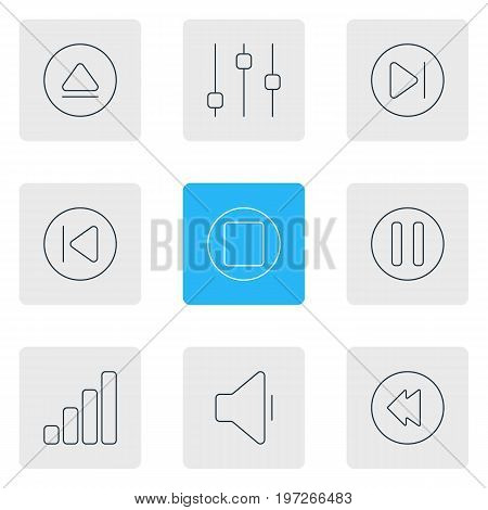 Editable Pack Of Lag, Stabilizer, Decrease Sound And Other Elements.  Vector Illustration Of 9 Melody Icons.