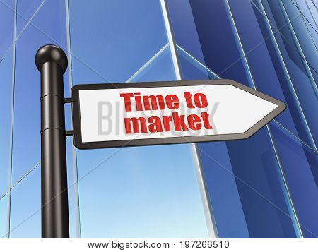 Timeline concept: sign Time to Market on Building background, 3D rendering