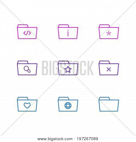 Editable Pack Of Script, Document Case, Magnifier And Other Elements.  Vector Illustration Of 9 Folder Icons.