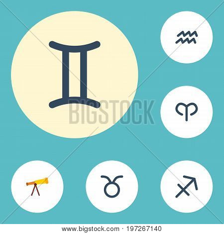 Flat Icons Water Bearer, Ram, Optics And Other Vector Elements