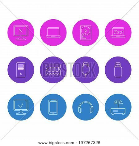 Editable Pack Of Smartphone, Notebook, Mainframe And Other Elements.  Vector Illustration Of 12 Laptop Icons.