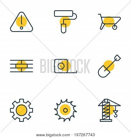 Editable Pack Of Handcart, Measure Tape, Circle Blade Elements.  Vector Illustration Of 9 Industry Icons.