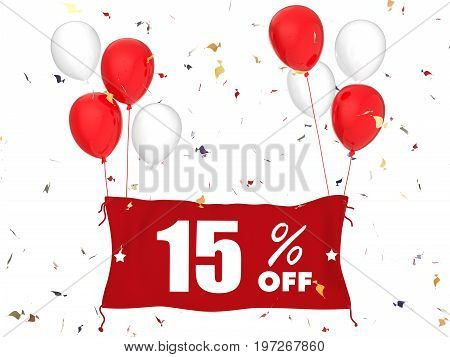 3d rendering 15% sale off banner on white background