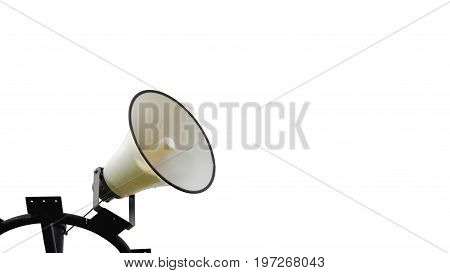 Megaphone in park, isolated on white background
