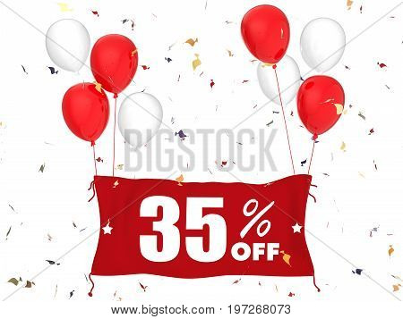 3d rendering 35% sale off banner on white background