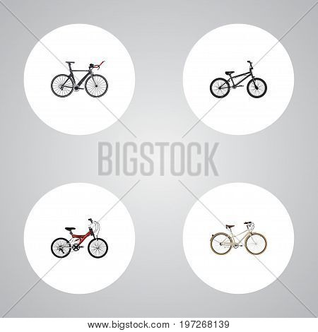 Realistic Competition Bicycle, Old, Adolescent And Other Vector Elements