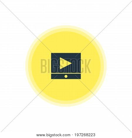 Beautiful Web Element Also Can Be Used As Play Button Element.  Vector Illustration Of Video Player Icon.