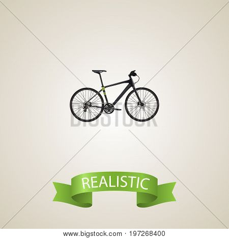 Realistic Training Vehicle Element. Vector Illustration Of Realistic Hybrid Velocipede Isolated On Clean Background
