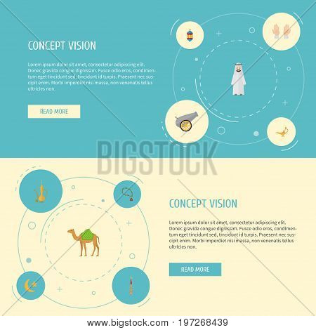 Flat Icons Genie, Dromedary, Bead And Other Vector Elements