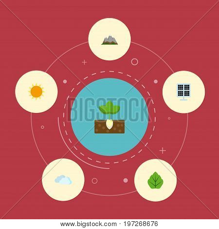 Set Of Green Flat Icons Symbols Also Includes Sunshine, Clouds, Sprout Objects.  Flat Icons Sunshine, Foliage, Landscape Vector Elements.