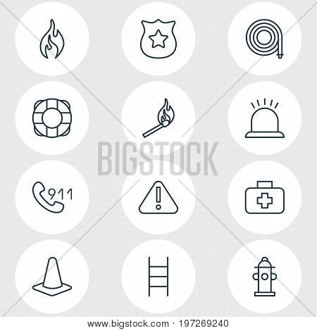 Editable Pack Of Medical Case, Taper, Hosepipe And Other Elements.  Vector Illustration Of 12 Necessity Icons.