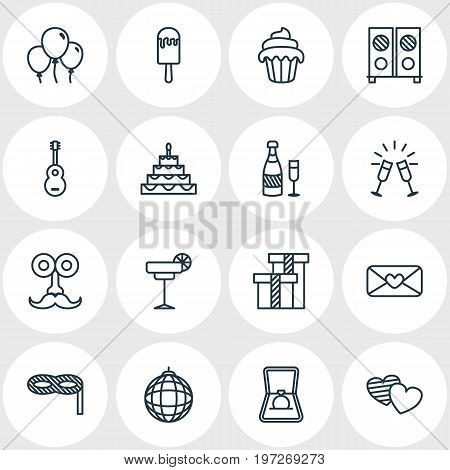 Editable Pack Of Masquerade, Heart Letter, Fizz And Other Elements.  Vector Illustration Of 16 Banquet Icons.