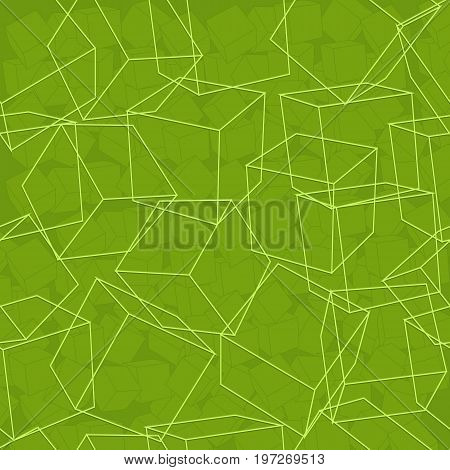 Cube abstract seamless background pattern with chaotically located cubes in linear style on green fond vector illustration