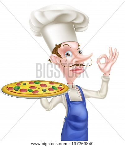 An illustration of a cartoon chef doing a perfect or okay sign and holding a tray with a pizza on it
