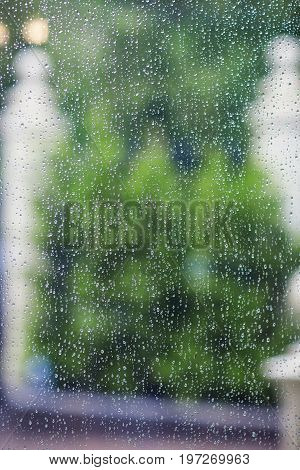 Drops of rain on a window pane that goes into the courtyard with trees