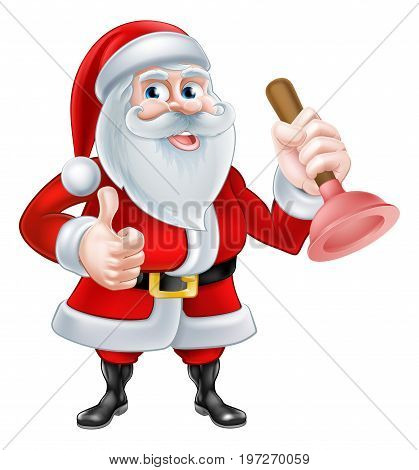 A Christmas cartoon illustration of Santa Claus holding a plunger and giving a thumbs up