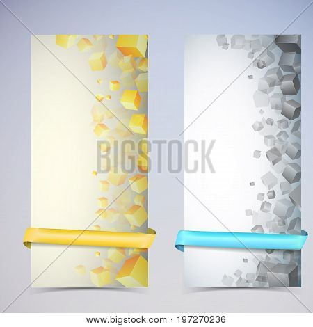 Two abstract vertical cube banner set with multicolored ribbons and many different sizes of cubes vector illustration