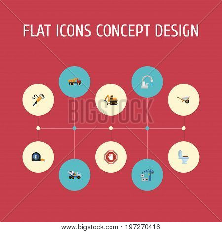 Flat Icons Faucet, Restroom, Stop Sign And Other Vector Elements