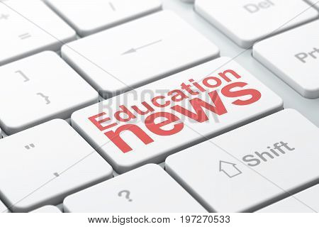 News concept: computer keyboard with word Education News, selected focus on enter button background, 3D rendering