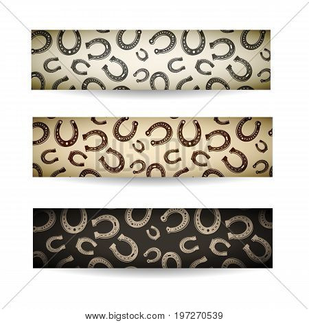 Three multicolored horizontal horseshoes banner set with chaotic arrangement of different sized horseshoes vector illustration