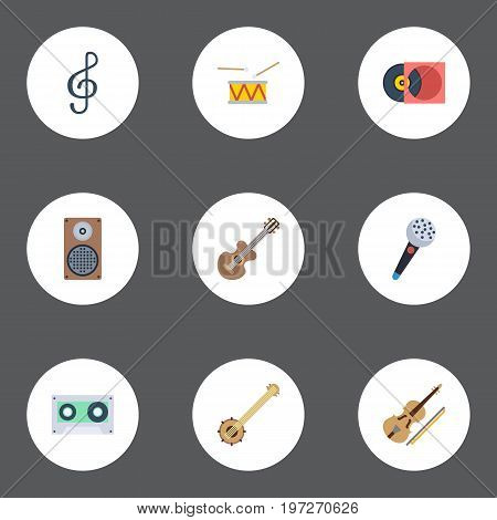 Flat Icons Tape, Audio Box, Acoustic And Other Vector Elements