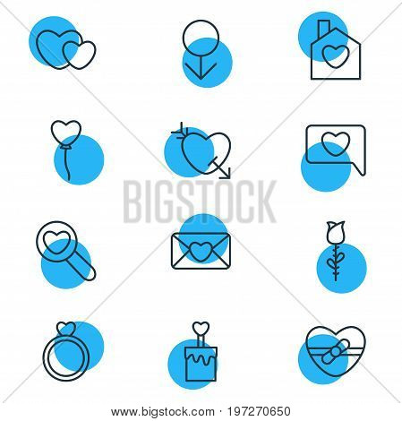 Editable Pack Of Rose, Present, Hearts And Other Elements.  Vector Illustration Of 12 Amour Icons.