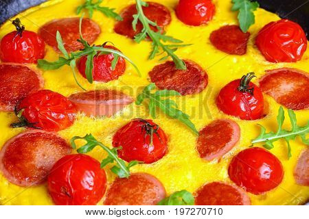 Delicious Omelette With Sausages Cut In Slices