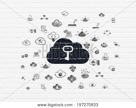 Cloud technology concept: Painted black Cloud With Key icon on White Brick wall background with  Hand Drawn Cloud Technology Icons