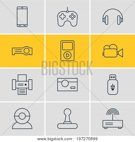 Editable Pack Of Game Controller, Usb Card, Modem And Other Elements.  Vector Illustration Of 12 Technology Icons.