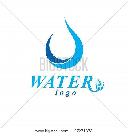 Vector blue clear water drop logotype for use as marketing design symbol. Human and nature coexistence concept.