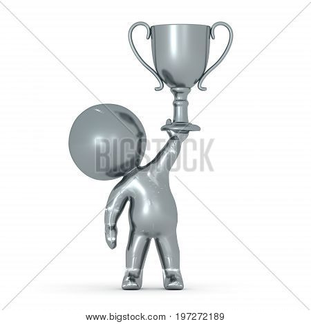Silver 3D Character holding a silver second place trophy. Isolated on white.