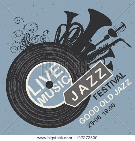 Vector banner for jazz festival live music with wind instruments vinyl record and microphone on the blue cardboard background in retro style