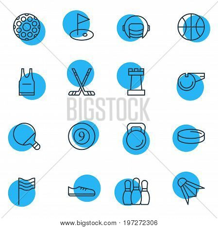 Editable Pack Of Golf, Badminton, Racer Hat And Other Elements.  Vector Illustration Of 16 Fitness Icons.