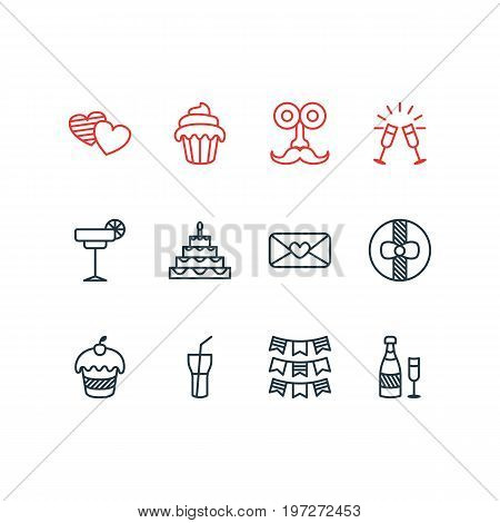 Editable Pack Of Muffin, Cupcake, Soft Drink And Other Elements.  Vector Illustration Of 12 Banquet Icons.