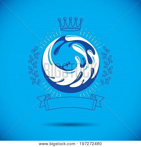 Global water circulation vector logo for use as marketing design symbol. Living in harmony with nature concept.