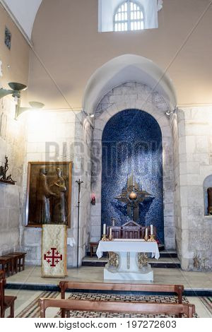 Jerusalem Israel July 14 2017 : Fragment of the interior of the Church of the Holy Sepulchre in Jerusalem Israel.