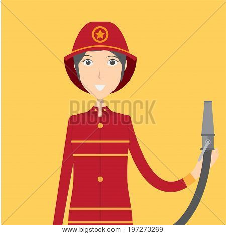 Firefighter Character Female | set of vector character illustration use for human, profession, business, marketing and much more.The set can be used for several purposes like: websites, print templates, presentation templates, and promotional materials.