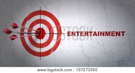Success entertainment, concept: arrows hitting the center of target, Red Entertainment on wall background, 3D rendering