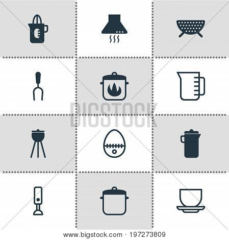 Editable Pack Of Jug, Mixer, Extractor Appliance And Other Elements.  Vector Illustration Of 12 Cooking Icons.