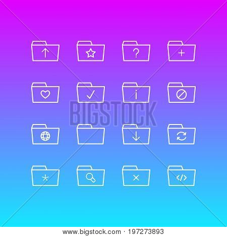 Editable Pack Of Done, Magnifier, Submit And Other Elements.  Vector Illustration Of 16 Document Icons.