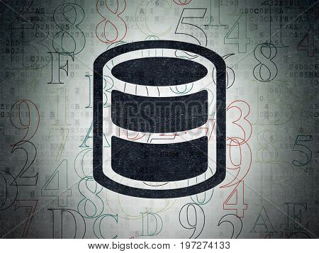 Programming concept: Painted black Database icon on Digital Data Paper background with  Hexadecimal Code