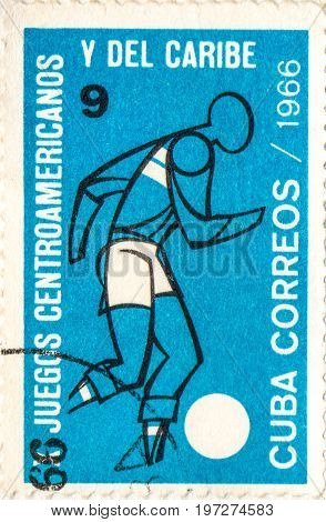 UKRAINE - CIRCA 2017: A postage stamp printed in Cuba shows Soccer from series 10th Central American and Caribbean Games circa 1966