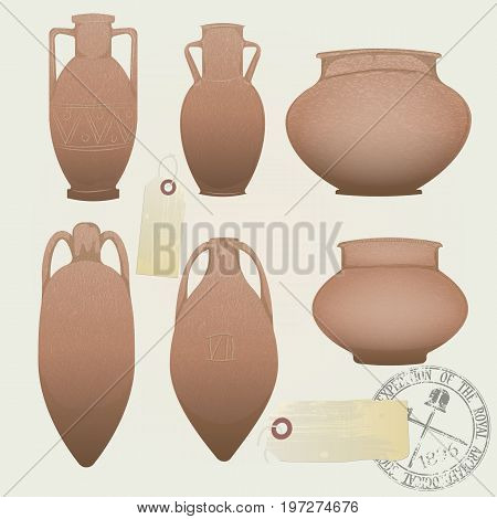 vector set: realistic antique clay pots and amphorae. archaeological objects from the excavations. the seal and tag of the society of archeology