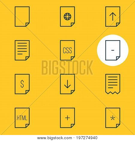 Editable Pack Of Basic, Style, Download And Other Elements.  Vector Illustration Of 12 File Icons.