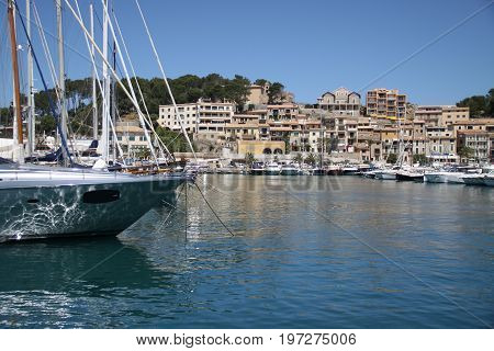 Yahts in marina. Soller harnour, Mallorca, Spain.