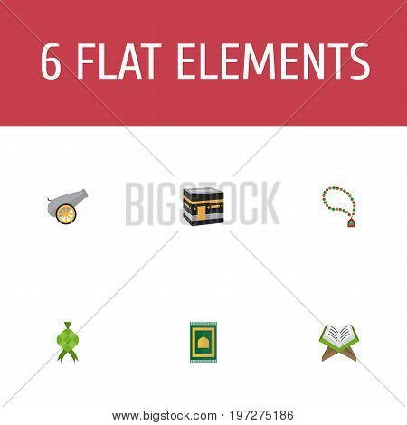 Flat Icons Artillery, Mecca, Malay And Other Vector Elements