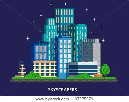 City skyline at night concept in modern flat stile. Skyscrapers with green park. Vector illustration for web banners and info graphic.