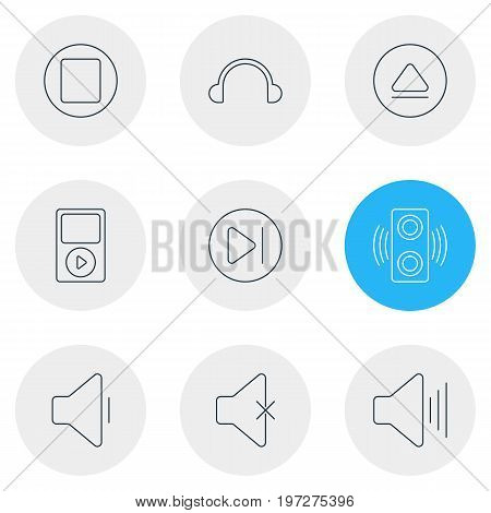 Editable Pack Of Subsequent, Decrease Sound, Soundless And Other Elements.  Vector Illustration Of 9 Melody Icons.