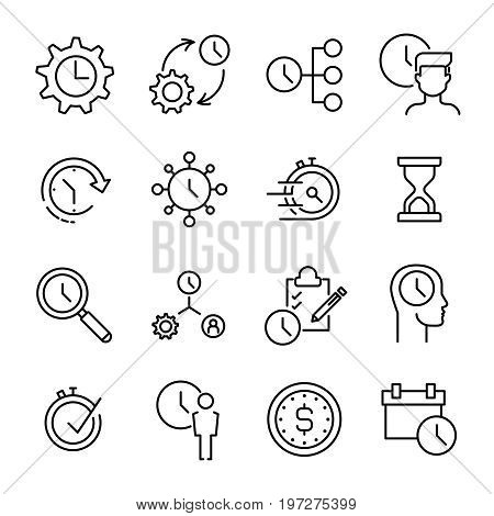 Set of 16 time management thin line icons. High quality pictograms of time. Modern outline style icons collection. Business, reminder, planning; start; schedule, etc.
