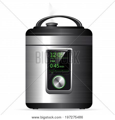 Modern Metal Multicooker. Pressure Cooker For Cooking Food Under Pressure. Electronic Control. Side